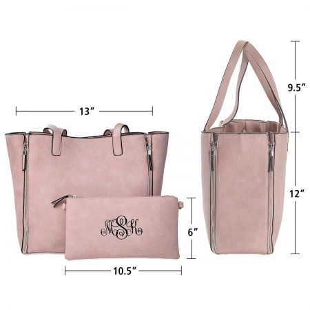 Pink Carry-All Nora Tote Bag with Matching Personalized Crossbody Purse