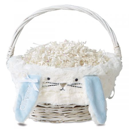 Personalized Furry Bunny Easter Wicker Baskets