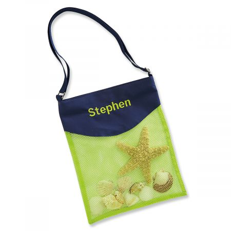 Personalized Lime & Navy Seashell Tote