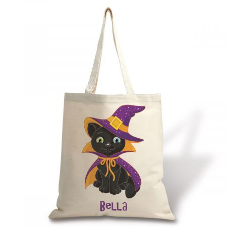 Personalized Natural Canvas Black Cat Halloween Tote