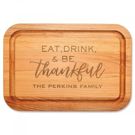 Personalized Eat, Drink, Be Thankful Cutting Board