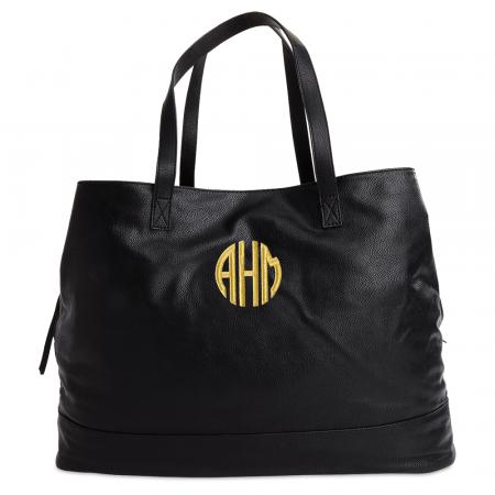 Personalized Black Overnight Travel Bag - Circle Monogram