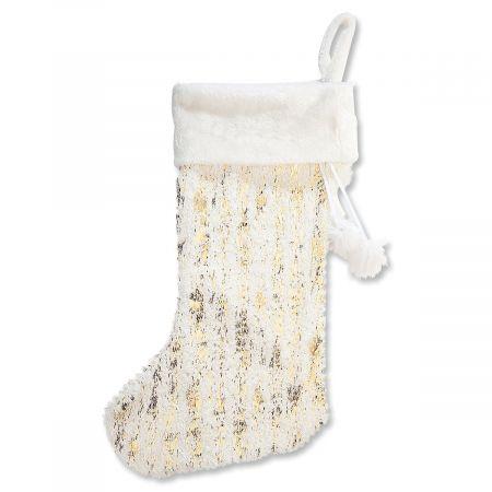 Personalized Elegant Jumbo White Fur and Metallic Stripes Knit Stocking