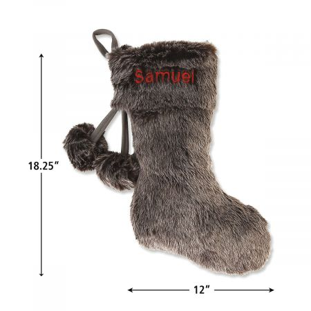 Personalized Grey Faux Fur Stocking