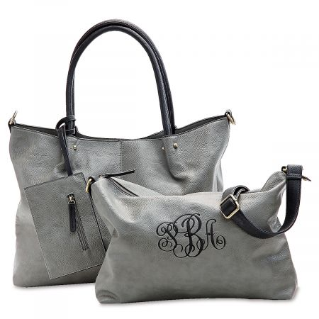 Personalized Grey Vegan Leather Tote Set