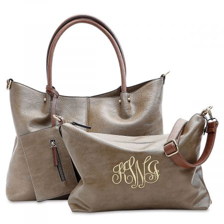 Personalized Taupe Vegan Leather Tote Set