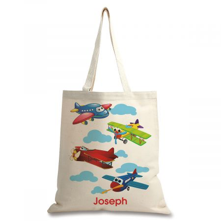 Personalized Airplane Canvas Tote