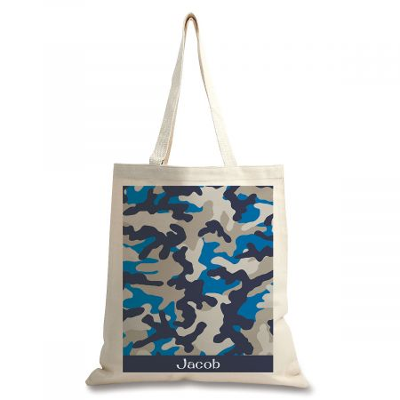 Personalized Blue Camo Canvas Tote
