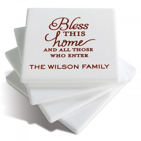Personalized Ceramic Coasters  - Bless This Home