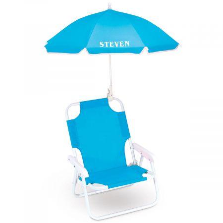 Child-Size Umbrella Beach Chair-Turquoise-817060B