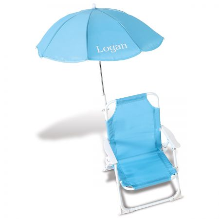 Personalized Child-Size Turquoise Umbrella Beach Chair