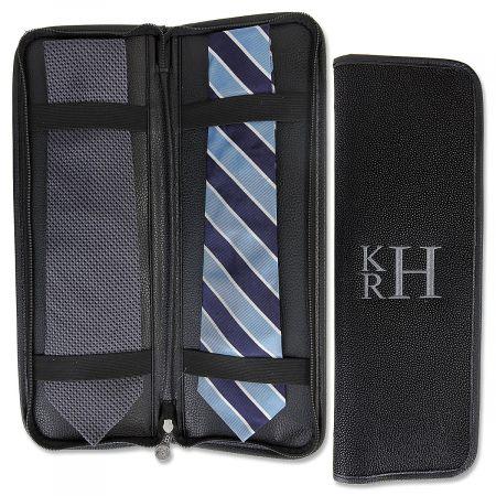 Personalized Black Suede Tie Travel Case - Monogram