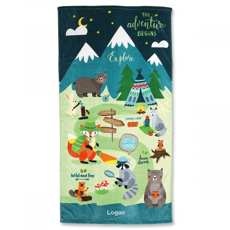 Woodland Animals Personalized Towel