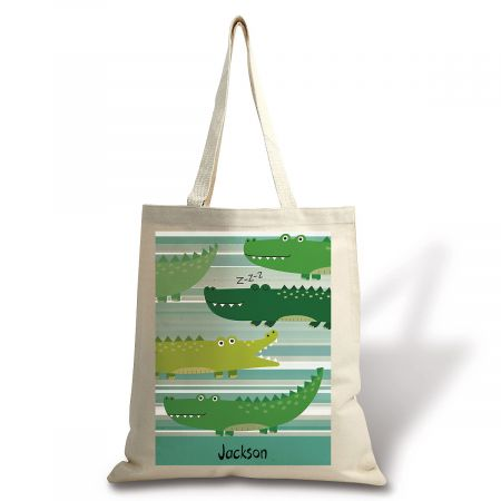 Personalized Alligator Canvas Tote