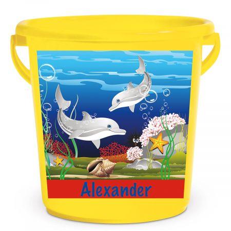 Personalized Kids Beach Bucket - Dolphin