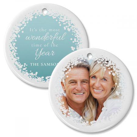 Personalized Confetti Snow Photo Ornament