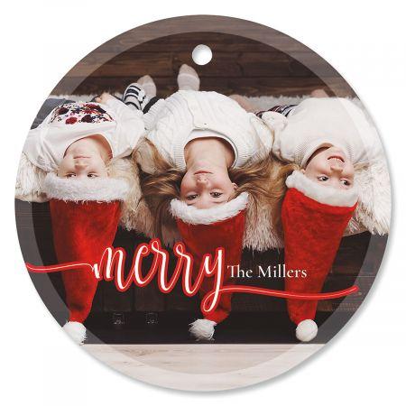 Merry Photo Ornament – Glass Round