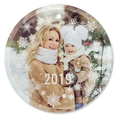 Snowflake Photo Ornament - Glass Round