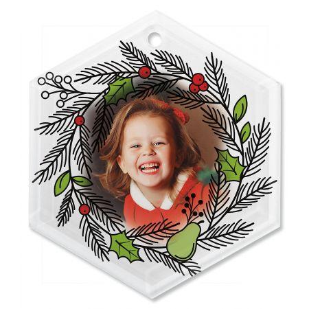 Wreath Photo Ornament - Glass Hexagon