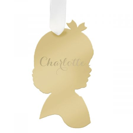 Personalized Girl Silhouette Acrylic Ornament