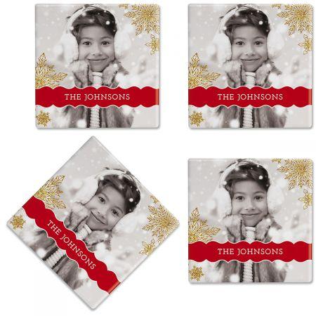 Glitter Snowflake Photo Coasters