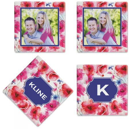 Watercolor Floral Photo Coasters