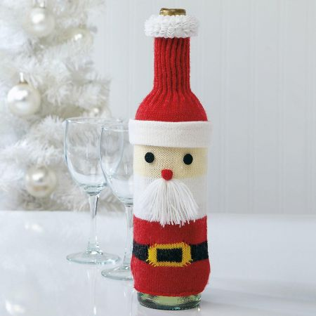 Santa Knit Bottle Cover