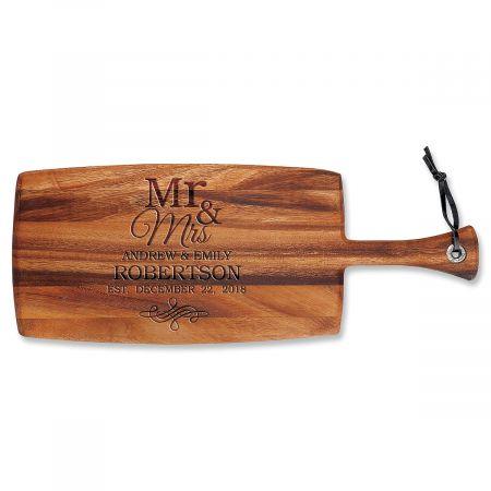 Personalized Mr. & Mrs. Paddle Cutting Board