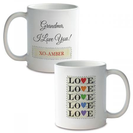 Love Stamp Personalized Ceramic Mug Red Handle