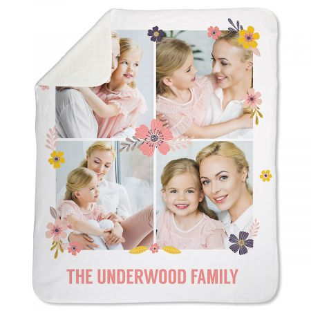 Sherpa Floral Photo Throw