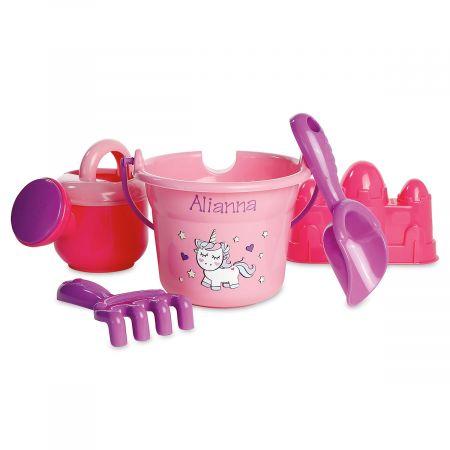 Personalized Unicorn Beach Bucket Set