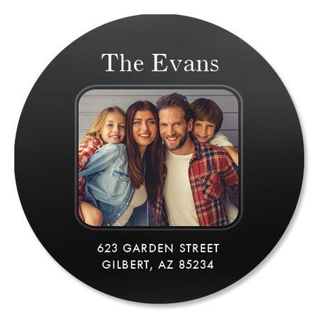 Modern Round Personalized Photo Address Label