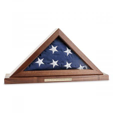 Personalized Walnut Flag Display Case