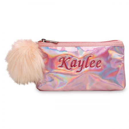 Personalized Pink Holographic Pencil Case