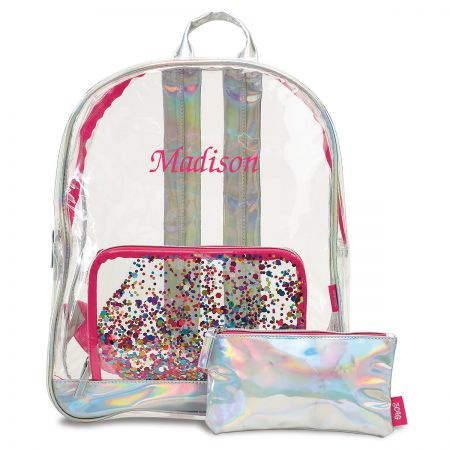 Personalized Clear Confetti Backpack