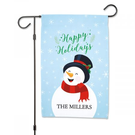 Personalized Snowman Garden Flag