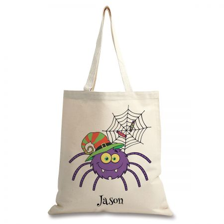 Personalized Natural Canvas Spider Halloween Tote