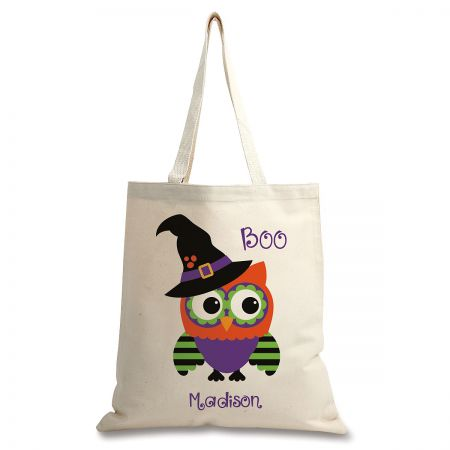Personalized Natural Canvas Owl Halloween Tote