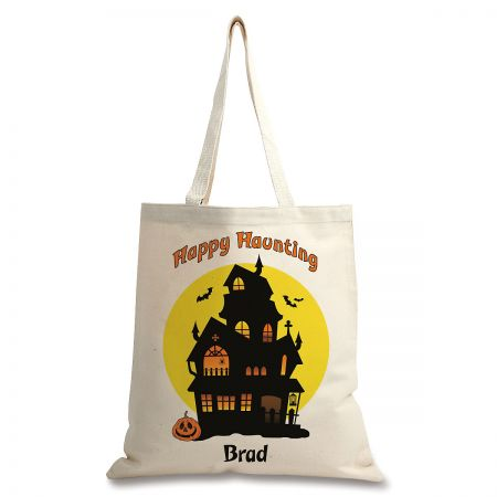 Personalized Natural Canvas Haunted House Halloween Tote