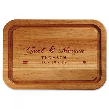 Alder Heart Bow Arrow Personalized Wood Cutting Board