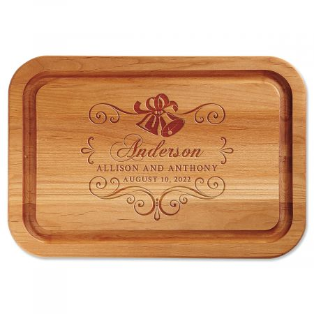 Alder Wedding Bells Personalized Wood Cutting Board