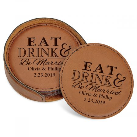 Eat, Drink and Be Married Coaster Set