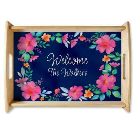 Floral Family Name Natural Wood Serving Tray