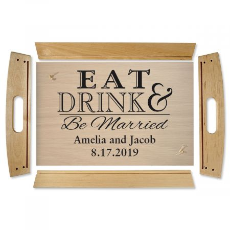 Eat Drink & Be Married Natural Wood Serving Tray