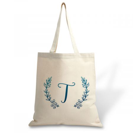 Initial Wreath Canvas Tote