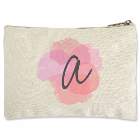 Watercolor Initial Zippered Pouch