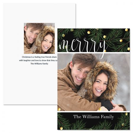 Pine Greeting Personalized Photo Christmas Cards