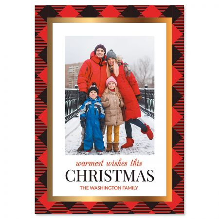 Red Buffalo Check Photo Christmas Cards