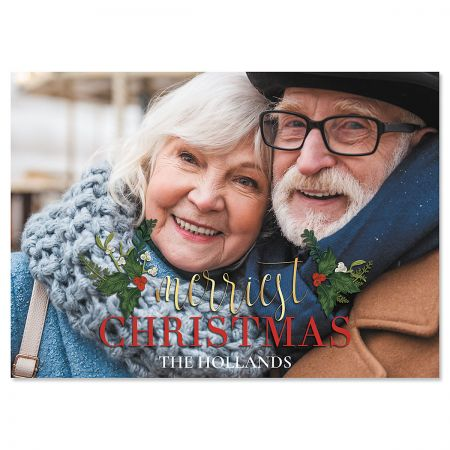Merriest Holly Photo Christmas Cards