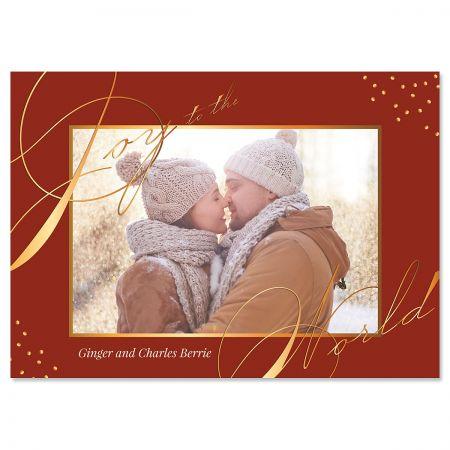 Red Joy Photo Christmas Cards